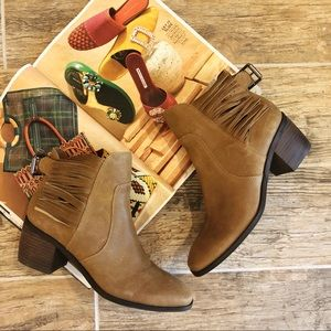 New Lucky Brand Western Fringe Leather Booties.7.5